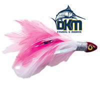 Black Magic Saltwater Chicken Rigged with hook and leader Pink & White